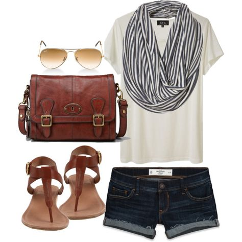 Denim shorts, white tee, striped infinity scarf, brown sandals, satchel, and aviator sunglasses