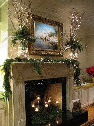 Decoracion De Navidad Chimeneas Decoracion De Navidad Con Luces Para La Chimenea Chimeneas Navidad Decoracion De Unas Arreglos De Navidad
