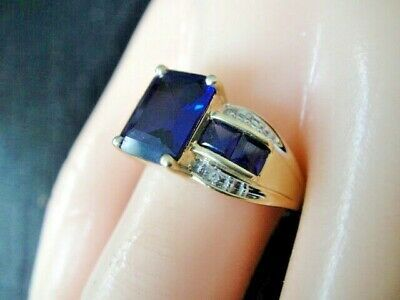 Ad Ebay Link Gtr Designer 10k Yellow Gold Blue Sapphire Ring With Diamond Accent Size 7 5 In 2020 With Images Blue Sapphire Rings Blue Sapphire Diamond Accent