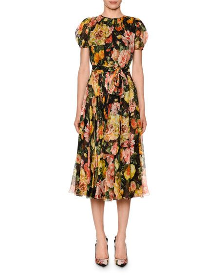 4c3f51de0a497 Dolce & Gabbana Puffed-Sleeve Belted Floral-Chiffon Midi Dress ...