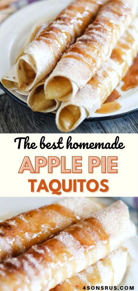 Simple desserts are often overlooked, especially when the Holidays roll around. These apple pie taquitos have all the makings of a great apple pie in fun, crispy cinnamon & sugar coated taquito form. #dessert #recipe #fallrecipe