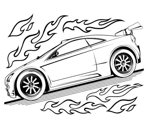 Hot Wheels Speed Turbo Coloring For Kids Race Car Coloring Pages Cars Coloring Pages Truck Coloring Pages
