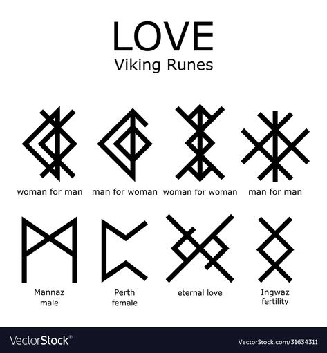 Viking Tattoo Symbol, Norse Tattoo, Viking Tattoos, Viking Symbol For Love, Symbol Of Love Tattoo, Eternal Love Tattoo, Inca Tattoo, Rune Symbols And Meanings, Ancient Symbols