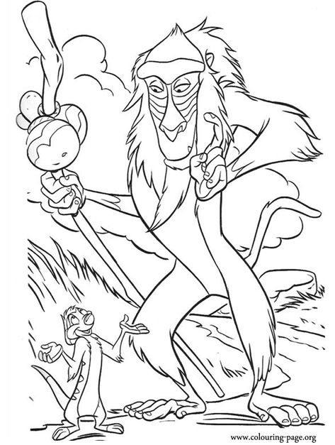 "Rafiki appears to be teaching Timon the philosophy of ""Hakuna Matata""! An awesome coloring page of the film, The Lion King!"