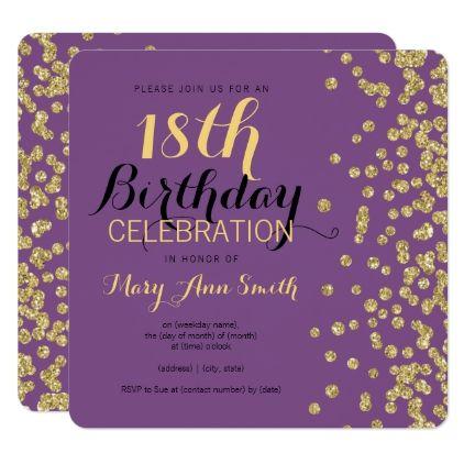 18th Birthday Gold Faux Glitter Confetti Purple Card