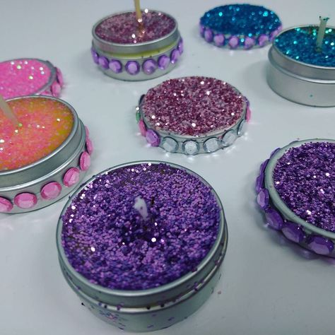 create Some of our glitter candles...