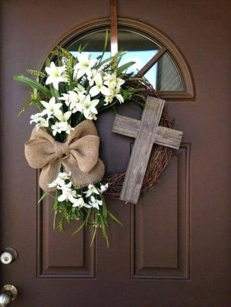 Easter Wreath with Cross - Rustic Grapevine Easter Wreath with Burlap Bow - Easter Decorations- Easter Decor - Easter Front Door Wreath, Spring decor, Spring wreath, home decor Diy Wreath, Grapevine Wreath, Wreath Ideas, Wreath Fall, Spring Wreaths, Ornament Wreath, Wreaths For Front Door, Door Wreaths, Front Doors