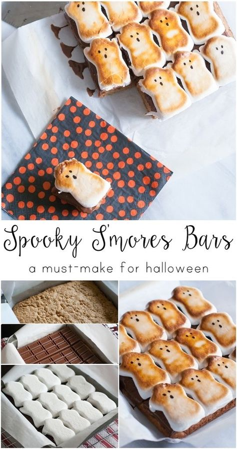 s mores bars recipe . a thick cookie base topped with milk chocolat.spooky s mores bars recipe . a thick cookie base topped with milk chocolat. What a perfect Halloween dessert. Dulces Halloween, Postres Halloween, Dessert Halloween, Halloween Goodies, Halloween Food For Party, Halloween Kids, Halloween Dinner, Halloween Stuff, Holloween Desserts