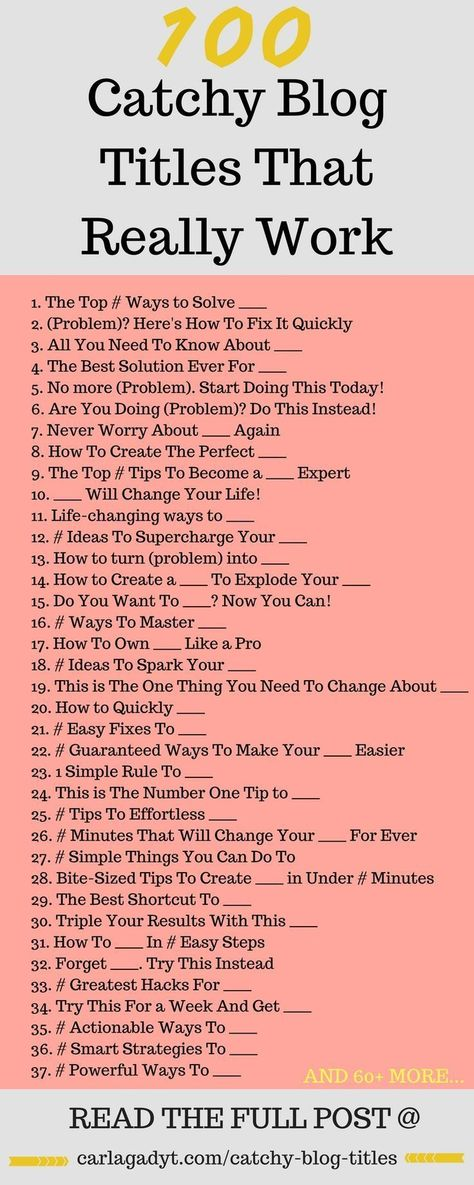 100 Catchy Blog Titles That Really Work