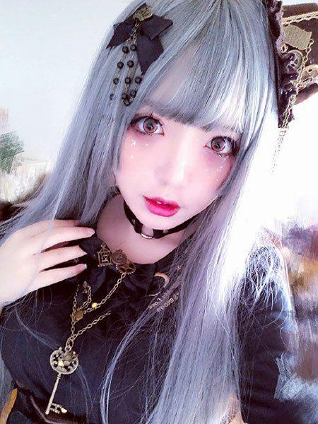 Gothic Lolita Wigs Long Straight Silver Gray Lolita Hair Wigs