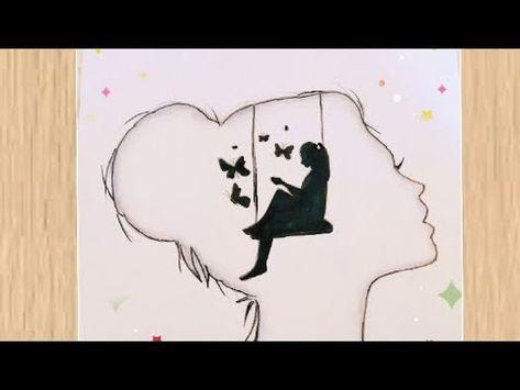 Alone Girl Drawing Kuzel Kiz Cizim رسم بنات رسمة معبرة لبنت وحيدة مع فراشات رسومات سهلة للمبتدئين Youtube Drawings