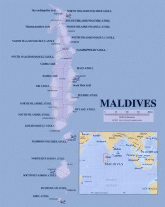The Maldives Map Maldives Die Malediven Karte La Carte Des