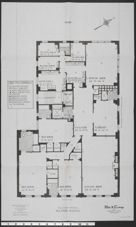 944 Park Avenue Plan Of 6th To 15th Floors Columbia Digital Library Collections Apartment Floor Plans Townhouse Apartments City Living Apartment