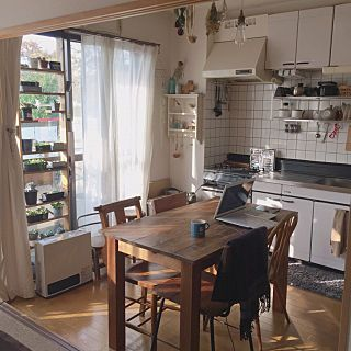 キッチン ダイニングテーブル テーブル 2dk 賃貸 賃貸アパート などのインテリア実例 2017 11 09 22 12 46 Roomclip ルームクリップ せまい リビング インテリア 小さなアパートのキッチン