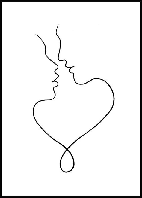 Cute one line art poster of two people closing in for a tender kiss. The lines that connect the faces to each other seem to represent a heart.