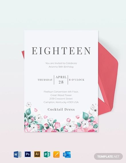 18th Birthday Invitation Card Template Free Jpg Illustrator Word Outlook Apple Pages Psd Publisher Template Net Birthday Invitation Card Template Birthday Invitation Templates Birthday Invitations