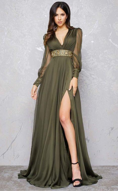 1940s Hollywood Evening Dress Long V-Neck Long Sleeve in Olive in Size 6   698.00 AT vintagedancer.com d31f5ccda475