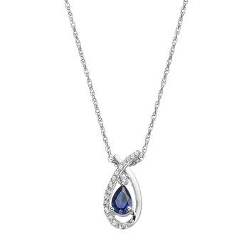 Sterling Silver Lab Created Blue White Sapphire Teardrop Pendant Necklace Pendant Necklace Silver Labs White Sapphire