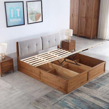 A家 北欧床 实木床双人床 1 8米北欧双人实木床单人高箱储物床简约主卧