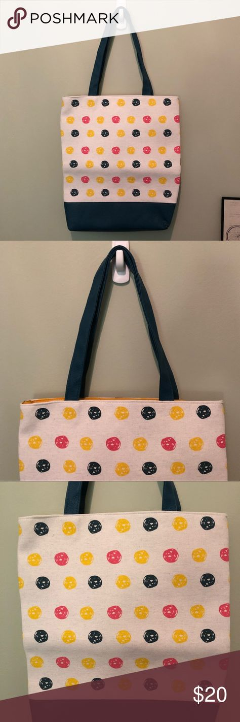 NWOT Polka Dot Canvas   Faux Leather Tote Bag NWOT Polka Dot Canvas   Faux  Leather 4096773961c36
