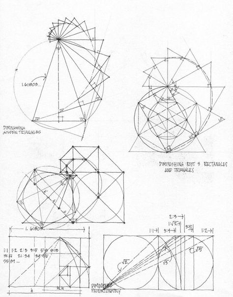 ~Sketches which play with the phi/Golden Mean ratio