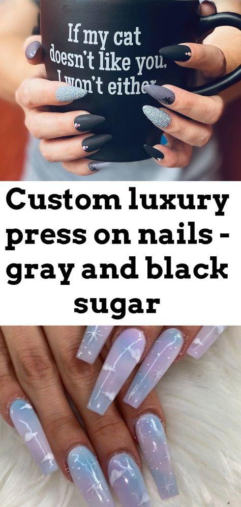 Custom luxury press on nails - gray and black sugar