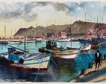 Peinture Aquarelle Bateaux Dans Le Port Les Bateaux De Peche