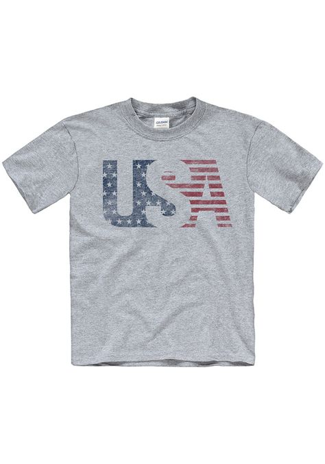 Team USA Youth Grey USA Flag Short Sleeve T Shirt - 22783434