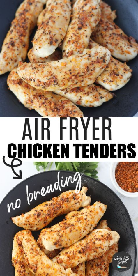 Healthy air fryer chicken tenders that are unbreaded. These easy homemade chicken tenders are keto, low carb, whole 30, and gluten free.