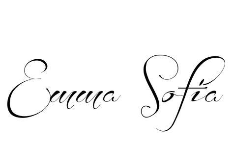 7ce335a82 Tattoo Name Emma Sofia using the font style Before the Rain Regular