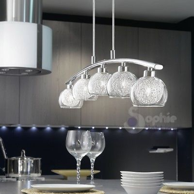 Lampade Moderne A Sospensione Per Cucina.Lampada Sospensione 5 Luci Lunga Design Moderno Acciaio