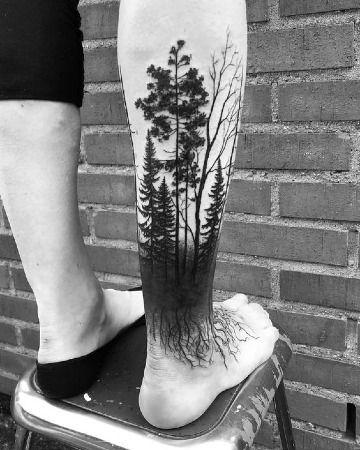 Sombrios Y Geniales Tatuajes De Bosques Para Hombres Bosque