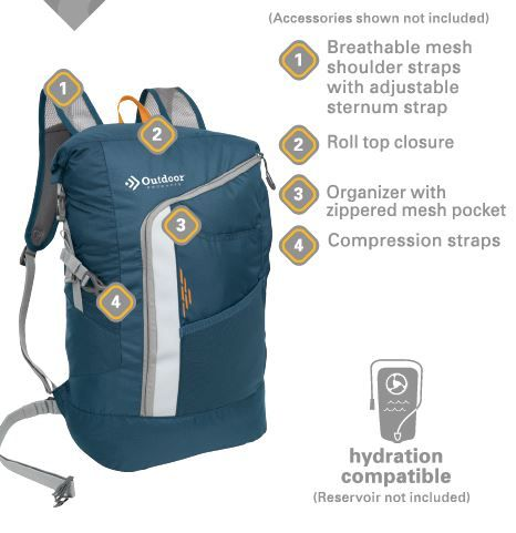 Outdoor Products Cycler Roll Top Backpack Blue Cycler Products