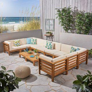 Oana Outdoor 12 Piece U Shaped Acacia Wood Sectional Sofa Set By