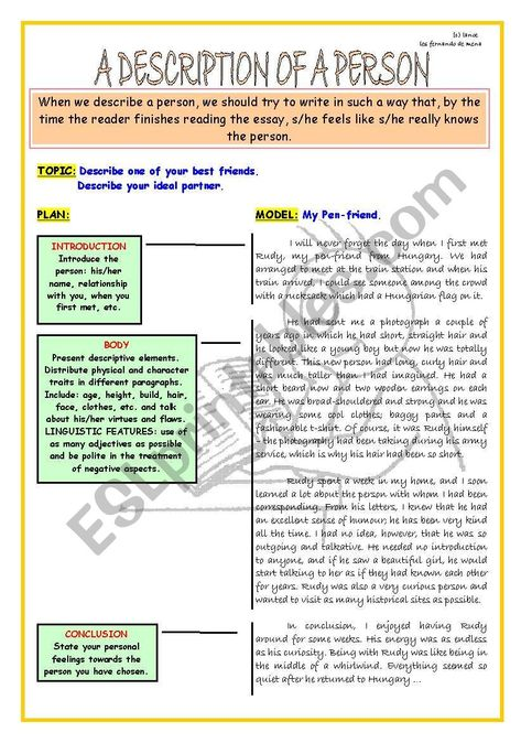 WRITING SKILL - A DESCRIPTION OF A PERSON - ESL worksheet by lanoe