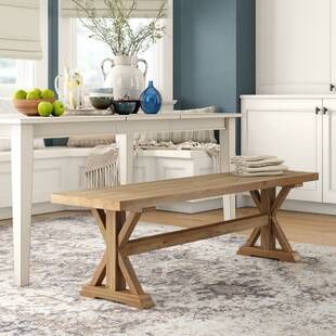 Darby Home Co Dylan Counter Height Upholstered Bench Wayfair Wood Bench Dining Table With Bench Wood Dining Bench