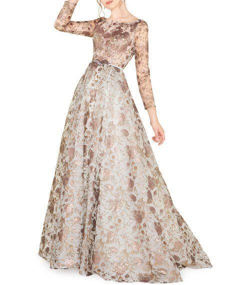 Mac Duggal Floral Brocade Long Sleeve Illusion Gown Blush