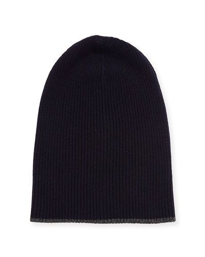 c56f62cc2a8 Cashmere Ribbed Hat w Reversible Cuff