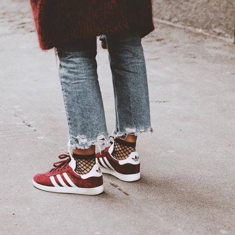 9c4cf6a0bfc Adidas Gazelle & chaussettes résilles 👌🏻❤ | streetstyle | Наряды ...