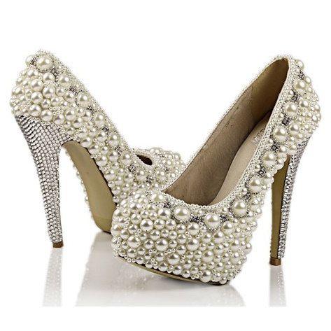 Nehmen Sie an der Hand nähen Perle Schuhe super hohe Fersen Elfenbein bestellen