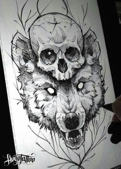 Drawing Skull Tattoo Sketch 57 Ideas Wolf Tattoo Design Skull Tattoo Design Tattoo Sketches