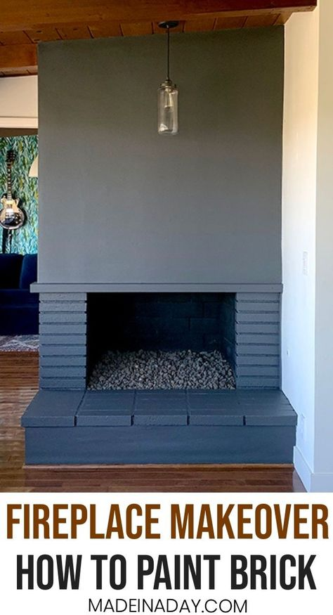 How to Paint a Fireplace: Vintage to Elegant, grey fireplace, black fireplace, paint walls and fireplace same color, painted fireplace before and after, mid-century modern fireplace, paint a hearth, how to paint bricks, #fireplace #midcenturymodern #grey #paint #behrpaint #crackedpepper #howto #DIYhomedecor #diyhome