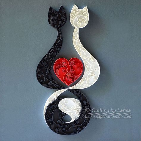 quilling , quilling paper, annyversary, wedding, quilling gift, paper art, art, love, cat, love cats, love cat,for her, etsy, larisa zasadna, design, love heart, hearts, quilling art, quilling paper art