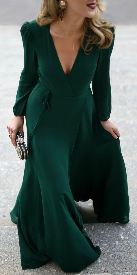 PDP   Wrap klänning, Långärmad klänning, Långa klänningar