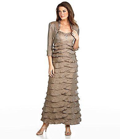 Ignite Evenings Tiered Bolero Jacket Dress Dillards Von Maur