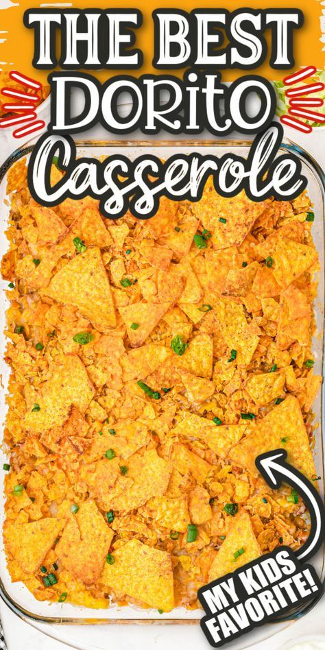 Our Dorito Casserole makes an amazing addition to your weeknight dinner menu! Layered with ground beef, corn, cheese (and more!) and seasoned with savory taco spices! Then topped off with layers of crushed Dorito chips!