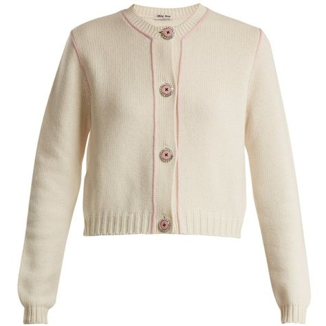 ee67801226b8 Miu Miu Embellished-button cashmere cardigan (17.728.475 IDR) ❤ liked on  Polyvore featuring tops