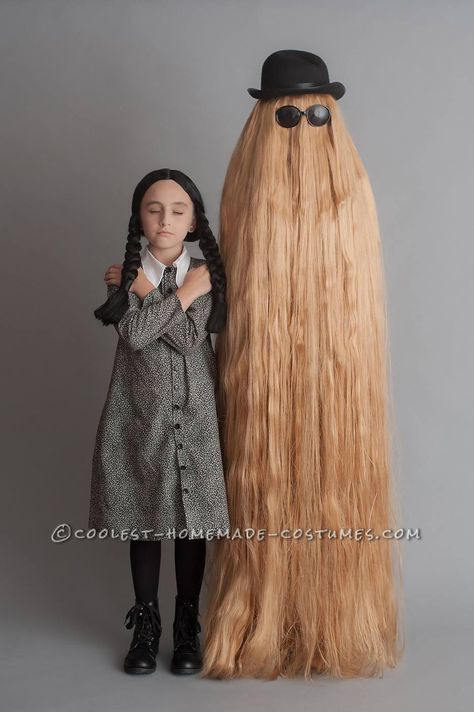 Mother/Daughter Have Fun as Wednesday Addams and Cousin Itt!... Coolest Halloween Costume Contest