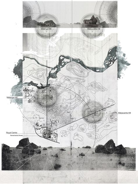 Dobson, Brad. THE FORGOTTEN WORLD grey backed inset on white paper; graphite type blur and paper textures. Natural Forms bleed beyond the edges of the expected map boundary