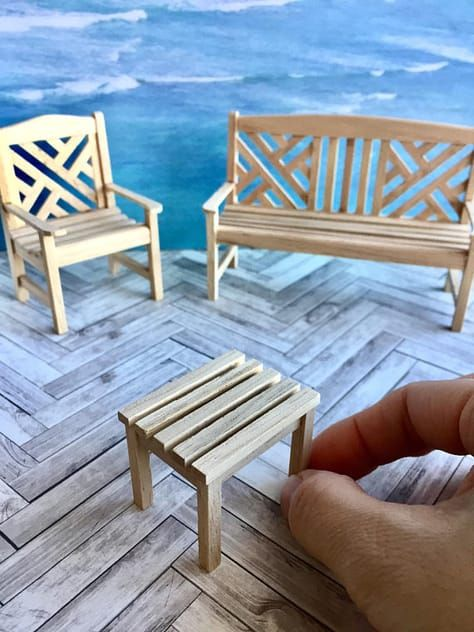 Astonishing Natural Wood Garden Bench Chair And Tables Dollhouse Inzonedesignstudio Interior Chair Design Inzonedesignstudiocom